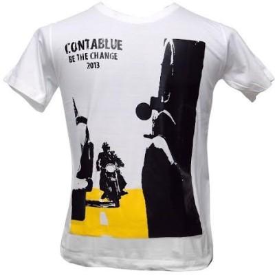 Contablue Graphic Print Men's Round Neck White T-Shirt