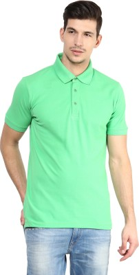 Yellow Submarine Solid Men,s Polo Neck Green T-Shirt