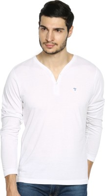 The Indian Garage Co. Solid Men's Henley White T-Shirt