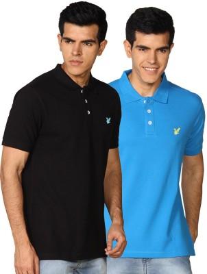 Provogue Solid Men's Polo Neck Black, Blue T-Shirt