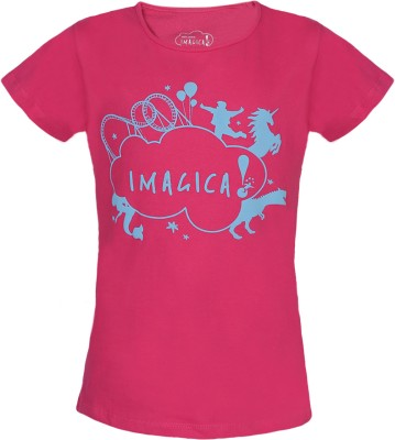 Imagica Animal Print, Printed Baby Girl's Round Neck Pink T-Shirt