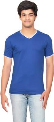 Graceful Self Design Men's V-neck Blue T-Shirt
