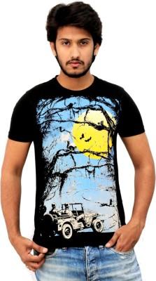JUSTEES Graphic Print Men's Round Neck Black T-Shirt