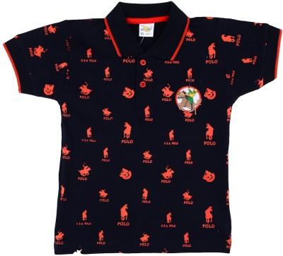 NavyaRiti Printed Boy's Polo Neck Dark Blue T-Shirt