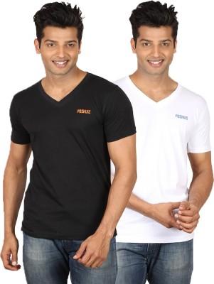 Poshuis Solid Men's V-neck Black, White T-Shirt