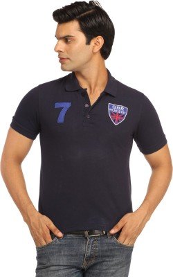 Rockhard Solid Men's Polo Dark Blue T-Shirt