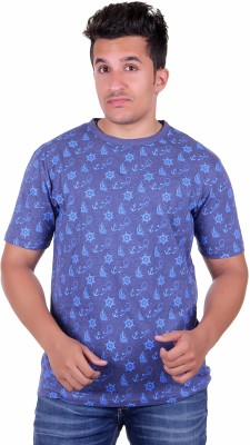 Lluminati Solid Men's Round Neck Blue T-Shirt