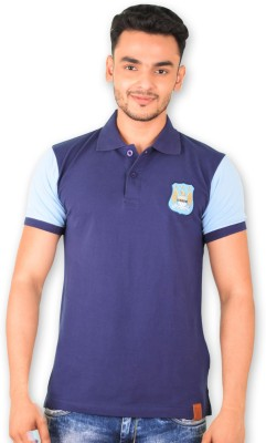 Manchester City FC Solid Men's Polo Neck Dark Blue T-Shirt