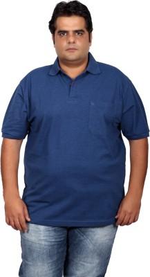Xmex Solid Men's Polo Neck Dark Blue T-Shirt