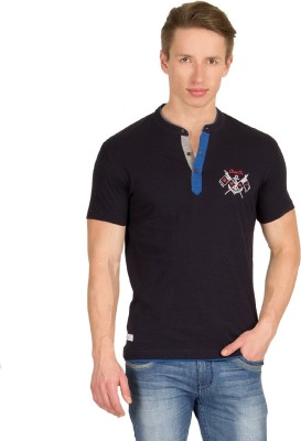 Wilkins & Tuscany Solid Men's Henley Dark Blue T-Shirt