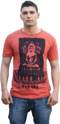 Tuntuk Printed Men's Round Neck Orange T-Shirt