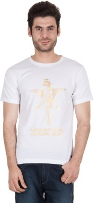 The Enthu Cutlet Graphic Print Men's Round Neck White, Gold T-Shirt