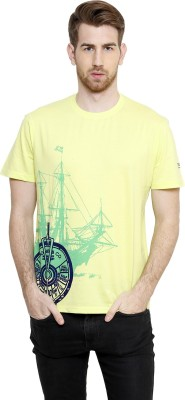 Freak,N by Cotton County Printed Men's Round Neck Green T-Shirt