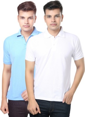 eSOUL Solid Men's Polo Neck Light Blue, White T-Shirt