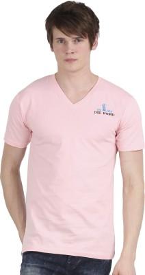 Tease Denim Embroidered Men's V-neck Pink T-Shirt