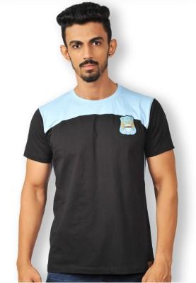 Manchester City FC Solid Men's Round Neck Black T-Shirt