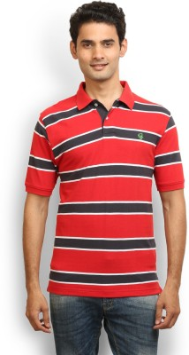 Thisrupt Striped Men's Polo Neck Red T-Shirt