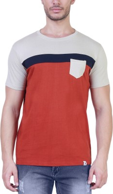 Unkonventional Solid Men's Round Neck Beige, Orange T-Shirt