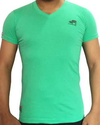 flamingo Graphic Print Men's V-neck Light Green T-Shirt