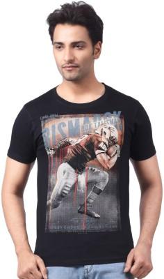 Motiv8Jeans Geometric Print Men's Round Neck Black T-Shirt