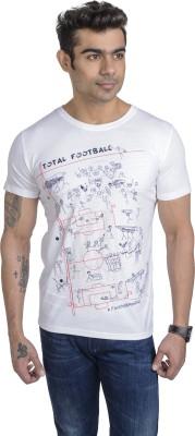 Total Football Graphic Print Men's Round Neck White T-Shirt