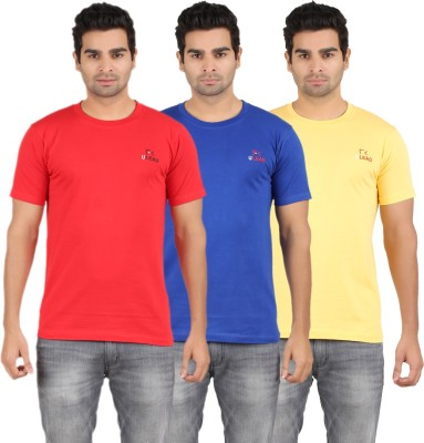 U Lead Solid Men's Round Neck Yellow, Red, Blue T-Shirt