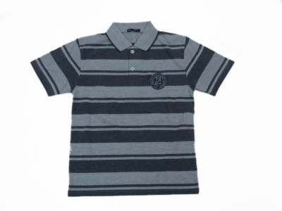Miracle Striped Boy's Polo Neck Grey T-Shirt