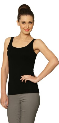 Miss Chase Solid Women's Fashion Neck Black T-Shirt