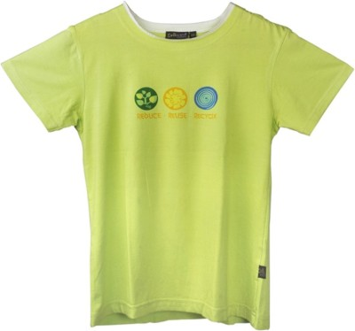 Omved Printed Baby Boy's Round Neck Green T-Shirt