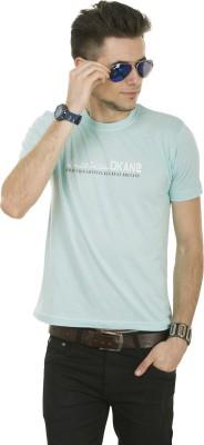 Okane Solid Men's Round Neck Light Blue T-Shirt