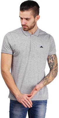 Foldin Solid Men's Polo Neck Grey T-Shirt
