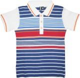 Hoodz Striped Boy's Polo Neck Orange T-S...
