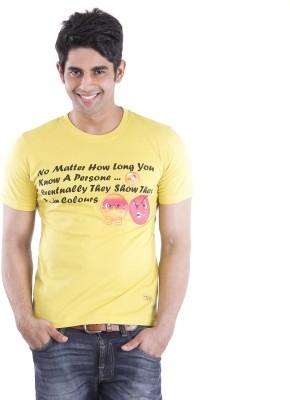 Texco Printed Men,s Round Neck Yellow T-Shirt