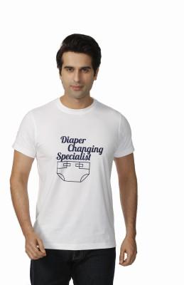 Daddy's Capes Printed Men's Round Neck White, Dark Blue T-Shirt