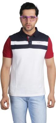 Nostrum Jeans Solid Men's Polo Neck White, Dark Blue, Red T-Shirt