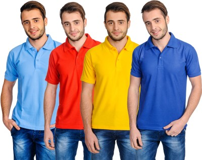 Superjoy Solid Men's Polo Neck Blue, Yellow, Red, Light Blue T-Shirt