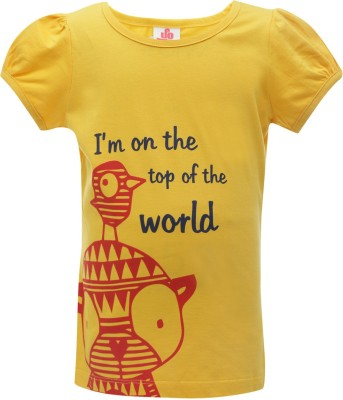 UFO Printed Girl's Round Neck Gold T-Shirt