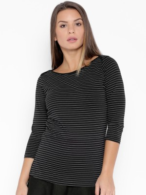 Go-Art Printed Women,s Boat Neck Black T-Shirt