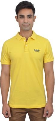 London Eye Solid Men,s Polo Neck Yellow, Blue T-Shirt