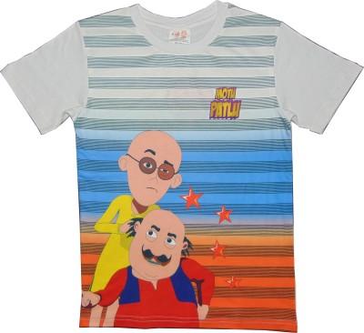Motu Patlu Solid Boy's Round Neck T-Shirt