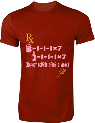 My Insignia Printed Men's Round Neck Maroon T-Shirt
