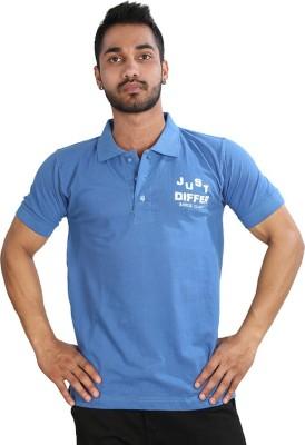 Just Differ Graphic Print Men's Flap Collar Neck Blue T-Shirt