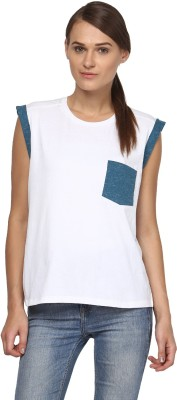 Annapoliss Solid Women's Round Neck White, Blue T-Shirt