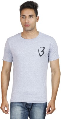 Being Odia Solid Men's Round Neck Grey T-Shirt