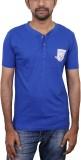 Caddo Solid Men's Round Neck Blue T-Shir...