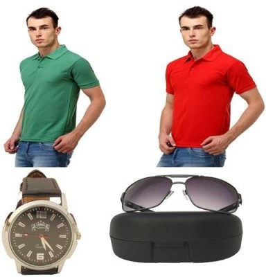 Tele Queen Solid Men's Polo Neck Red, Light Green T-Shirt