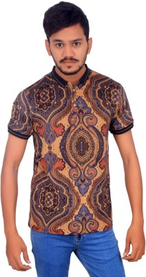 BOMBAY BLUES Graphic Print Men's Polo Neck Brown T-Shirt