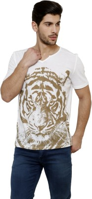 Desinvolt Printed Men's V-neck White T-Shirt
