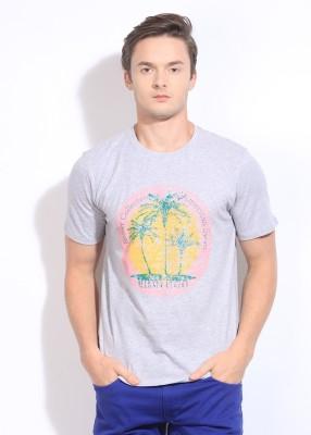 American Swan Printed Men's Round Neck Grey T-Shirt