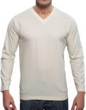 Fashion Hunk Solid Men's V-neck White T-...
